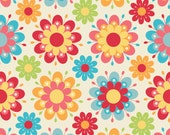 LAMINATED cotton fabric by the yard - Floral Main Cream - Just Dreamy yardage - Approved for children's products