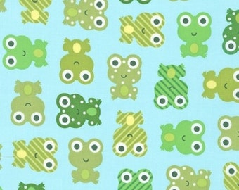 1/2 yard LAMINATED cotton fabric (similar to oilcloth) 18 x 40 - Frogs on aqua Urban Zoologie Anne Kelle - BPA free - Approved for children