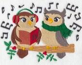 Caroling Owls Embroidered Flour Sack Hand/Dish Towel