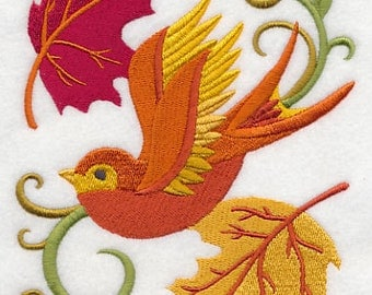 Colorful Swallow in Autumn Leaves Embroidered Flour Sack Hand/Dish Towel