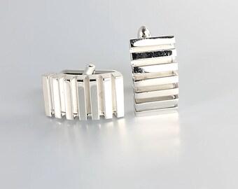 Industrial Cufflinks, Swank silver wedding Modernist Cuff Links Vintage Mens Jewelry Accessories