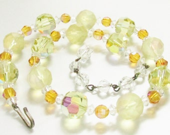Vintage Yellow Crystal Beaded Necklace 1940s Jewelry