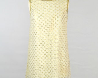 1960s Gold and White Lace Shift Dress By Mr Simon