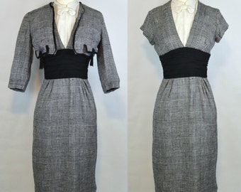 1940s/1950s Black and White Houndstooth Sheath Dress and Bolero, Needs TLC