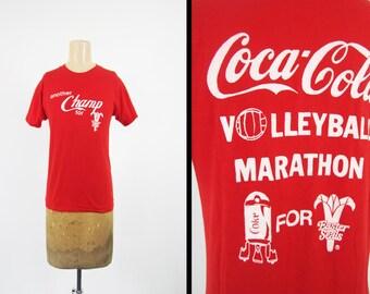 Vintage 80s Marathon T-shirt Coca Cola Red Soft and Thin Screen Stars - Small / Medium