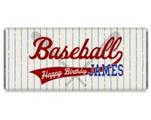Baseball Birthday Party Personalized Candy Bar Wrappers - Baseball Birthday Party Favors - Set of 12