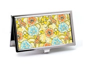 Art Nouveau Nasturtium Business Card Case, Deluxe Floral Credit Card Case, Slim Metal Wallet, Office Accessory, Boss or Employee Thank You