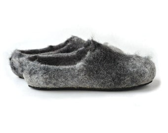 Handmade eco friendly felted slippers from natural wool - grey - dark grey - rubber soles