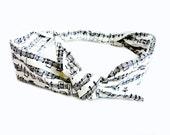 Black and White Music Note Head Scarf, Tie Headband Piano Treble Sheet Music Bandana Rockabilly Hairband