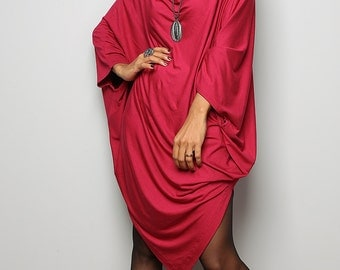 Red Sweater Dress / Batwing Tunic / Top Dress : Urban Chic Collection no.8