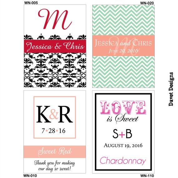 84 - 2x2.67 inch Custom Wedding Rectangle or Mini Wine Bottle Labels - hundreds of designs - change designs to any color, wording etc