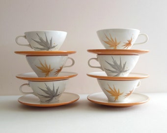 6 Ben Seibel Informal True China Harvest Time Cup Saucer Sets Leaf Leaves Mid Century Set of 6 Iroquois Tea cups Fall Foliage Leaf pattern