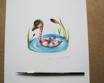 Original watercolor of a lonely duck on a lake-bird painting- illustration original for kids-wall art-home decor