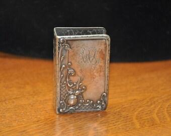 Antique Art Nouveau WMF Silver Match Book Holder Very Ornate