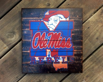 Ole Miss Mississippi Rebels distressed wood plaque, 12x12, originial design, gift, football, rebels, wood sign