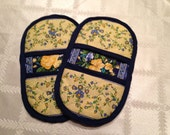 Microwave Mitts-Oven Mitts-Pinchers-Yellow flower print with navy blue trim. Free Shipping.