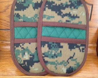 Mini Microwave Mitts-Oven Mitts-Pinchers-Digital Camoflage w/Brown Trim-Free Shipping