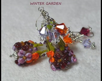WINTER GARDEN - Handmade Lampwork and Sterling Silver Earrings,Lavender Orange Dk Red Earrings