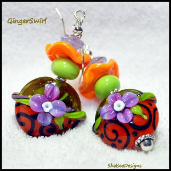 Orange Purple Lime Earrings, Lampwork Earrings,Beaded Earrings,Glass,Dangle Earrings,Floral Earrings,Colorful Earrings - GINGER SWIRL