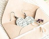 Antique vintage style earrings, old love letter, beige romantic jewelry, oval handmade earrings