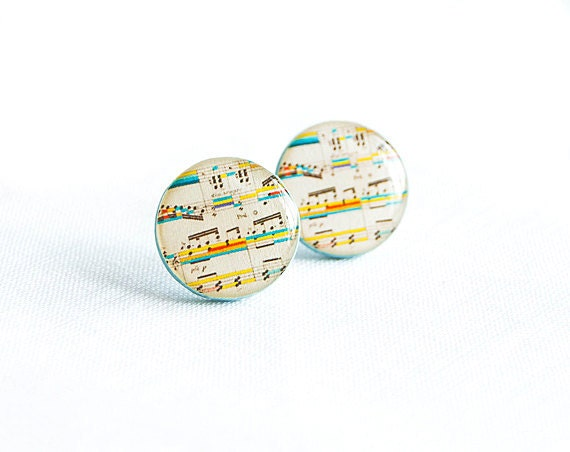 Sheet music stud earrings, music notes jewelry, round post earrings