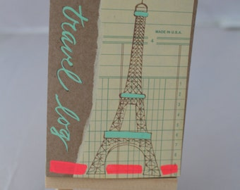 Travel Log, Miniature Journal, The Eiffel Tower, One of a Kind Notebook