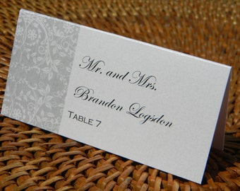 White and Silver Damask Escort Card