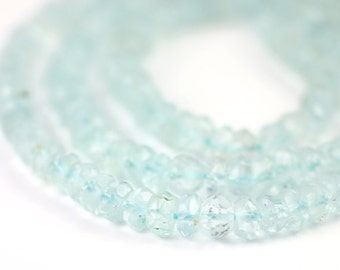 Aquamarine Micro Faceted Rondelles 20 Pale Blue Beryl Semi Precious Gemstones March Birthstone