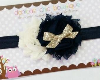 Cream and navy headband, gold sparkle, navy headband, fall headband newborn, infant, child, teen or adult sizes