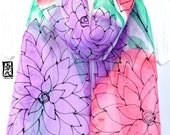 Hand Painted Silk Scarf, Pink and Purple Floral Scarf, Spring Fashion, Grape and Watermelon Sorbet Scarf, Silk Chiffon Scarf. 10x58 inches.