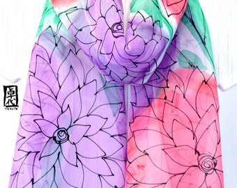 Hand Painted Silk Scarf, Pink and Purple Floral, Grape and Watermelon Sorbet, Spring Chiffon, 11x60 inches. Made to order