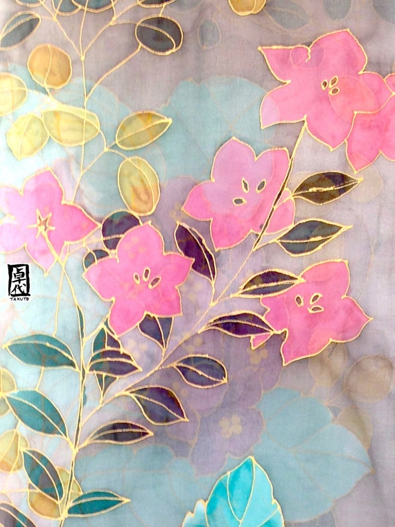 Hand Painted Silk Scarf, Japanese Floral Scarf, Fall Kimono Flowers, Brown and Gray Silk Scarf. Silk Chiffon Scarf. Approx 14x72 inches.