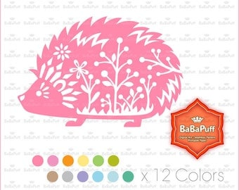 12 Colors Hedgehog Clipart. Birthday Card, Paper Cut DIY Handmade Crafts Projects. Personal and Small Commercial Use. BP 0937