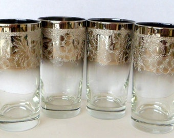 Sale Glass Coasters Tumblers Caddy Lusterware Silver Fade Vitreon Queen's Vintage Barware Set Grape Vine 9 Piece 1950s