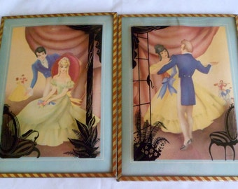 Sale Reverse Painting on Glass Wall Plaque Silhouettes Courting Couple Pair Wall Hangings Vintage 1940s Sandre