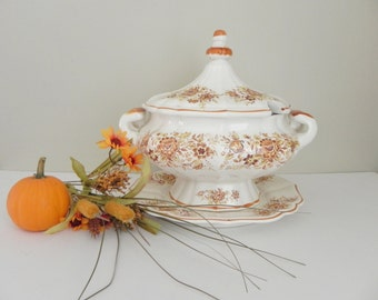 Ironstone Soup Tureen - Brown and White Transfer