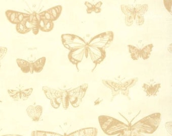 SALE - Papillon - Butterfly Etchings Ivory by 3 Sisters from Moda