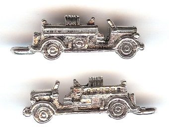 FIRE ENGINE Charm. Sterling Silver Plated. 3D Old Fashioned Style Hook and Ladder. Made in the USA.