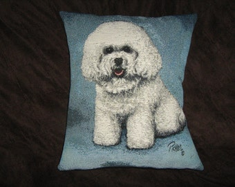 BICHON FRISSE TAPESTRY Pillow Cover Linda Picker artist