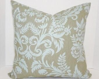 Decorative Grey & Blue Damask Pillow Cover Decorative Pillow Throw Pillow 20x20