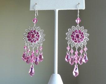 Large Flower Silver Filigree Chandelier Rose Swarovski Elements Earrings, Love Pink Sunflower Bridal Bridesmaid Wedding Custom Jewelry