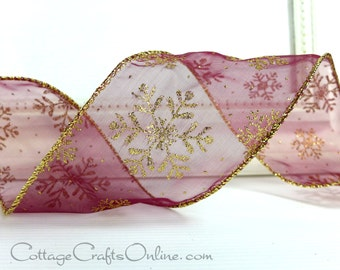"Wired Christmas Ribbon, 2 1/2""  Burgundy Sheer with Gold Glitter Snowflakes - TEN YARDS - ""Burgundy Snowflake"" Craft Wire Edge Ribbon"