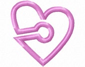 G-Tube Cover- Heart - Applique - Machine Embroidery Design - 3 sizes