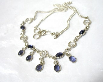 Silver Bib Necklace, Waterfall, Dangles, Purple Amethyst Glass Cabochons, Petite Style, Casual Look, Sterling Plate, Gift Idea, Excellent
