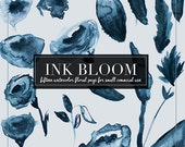Watercolor Flower Floral Clipart 15 PNGS : Ink Bloom hand painted 300 dpi boho