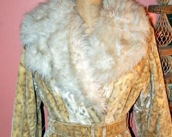 Vintage 60s Boho Hippy Leopard Faux Fur Princess Coat