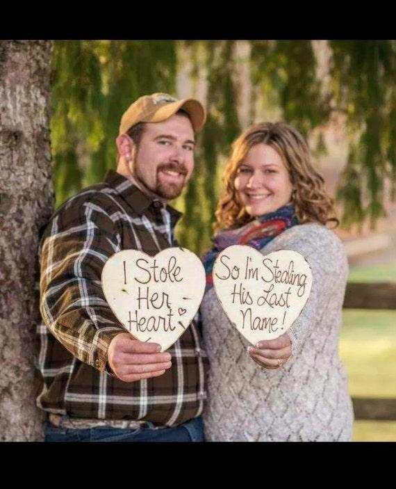 Wedding Photo Props Ideas: Wedding Photo Props Engagement Photo Props SET Of 2 Wood