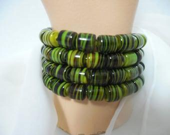 Summer Bracelets-Memory Wire Wrap Around Bracelet, Green Swirl Barrel Beads Bracelet, Shades of GREEN SWIRL, Bracelets by Beadgarden, TEXAS
