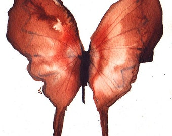"""rust red brown butterfly ORIGINAL watercolour PAINTING 8 x 6 """""""