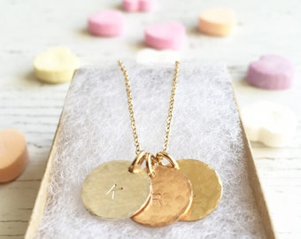 Gold Coin Hammered Disc Necklace, multi-disc necklace, personalized pendants, gold mom jewelry, Mother's day gift, bridal jewelry